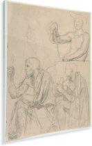 Studie van figuren - Schilderij van Jean Auguste Dominique Ingres Plexiglas 30x40 cm - klein - Foto print op Glas (Plexiglas wanddecoratie)