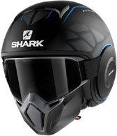 SHARK STREET DRAK HUROK KBK MAT ZWART BLAUW ZWART JETHELM XL