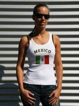 Witte dames tanktop met vlag van Mexico S