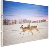 Herten op het strand Hout 30x20 cm - klein - Foto print op Hout (Wanddecoratie)