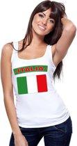 Singlet shirt/ tanktop Italiaanse vlag wit dames M