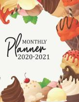 Monthly Planner 2020-2021: Two Year Calendar Appointment Organizer. 24 Months Jan 2020 - Dec 2021 Colorful Sweet Ice Cream Design