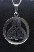 Zilveren Keltische knoop rond glad ketting hanger