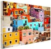 Kleurrijke steden van Mexico Hout 30x20 cm - klein - Foto print op Hout (Wanddecoratie)
