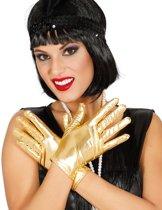 Korte goudkleurige metallic handschoenen voor vrouwen - Verkleedattribuut