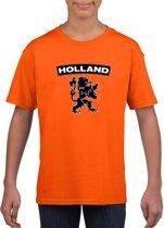 Oranje Holland supporter shirt met zwarte leeuw kinderen - Oranje Holland supporter/ fan kleding S (122-128)