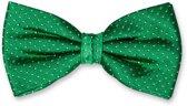 E.L. Cravatte Strik - Groen gestipt - 100% Zijde Vlinderdas