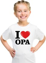 Wit I love Opa t-shirt kinderen XS (110-116)