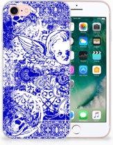 TPU Hoesje iPhone 8   7 Angel Skull Blue