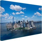 FotoCadeau.nl - Luchtfoto van Manhattan Skyline Canvas 60x40 cm - Foto print op Canvas schilderij (Wanddecoratie)
