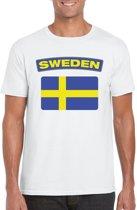Zweden t-shirt met Zweedse vlag wit heren L