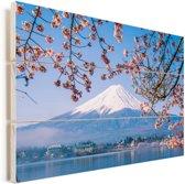 Uitzicht op de Fuji Berg in het Aziatische Japan Vurenhout met planken 90x60 cm - Foto print op Hout (Wanddecoratie)