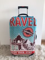 Koffer beschermhoes met travel print/Hoes in de maat M/Suitcase cover/Kofferhoes/Cover/Luggage cover/Bagage hoes/Kofferhoes met print/Kofferbeschermer/Suitcase protector