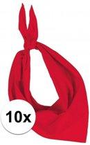 10x Zakdoek bandana rood - hoofddoekjes