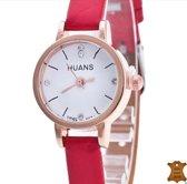 Huans Horloge- Leer- Krokodillenlook-Rood