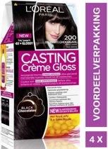 L'Oréal Paris Casting Crème Gloss Haarverf - 200 Midnight Chocolate 4 Stuks Voordeelverpakking