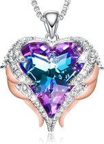 Paarse Engel Vleugel Kettingen voor vrouwen Love Swarovski® Hart Pendant Hanger - Ketting 43cm +5cm