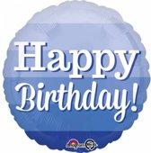 Helium Ballon Happy Birthday Blauw 43cm leeg