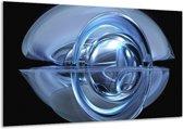 Glasschilderij Abstract   Blauw, Zwart, Wit   120x70cm 1Luik   Foto print op Glas    F004080
