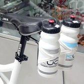 Aluminium Duo bidonhouder met zadel bevestiging - Twee lichtgewicht bidonhouders achter het zadel - triatlon hydratatie bottle cage / aqua rack - Zwart