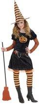 Heks & Spider Lady & Voodoo & Duistere Religie Kostuum | Halloween Heks Pompoen Kostuum Meisje | Maat 140 | Halloween | Verkleedkleding
