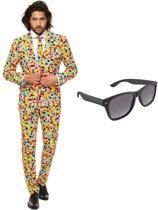 Confetti print heren kostuum / pak - maat 52 (XL) met gratis zonnebril