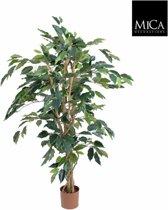 Mica Decorations ficus benjamina maat in cm: 110 x 65 groen in plastic pot