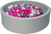 Ballenbak - stevige ballenbad - 90 x 30 cm - 150 ballen Ø 7 cm - wit roze grijs