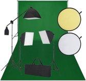 Fotostudio set met green screen 3 daglichtlampen