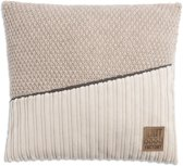 Knit Factory Sam Kussen - Beige / Marron  50 x 50 cm