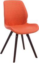 Clp Perth - Bezoekersstoel - Kunstleer - oranje kleur onderstel : rond cappucino