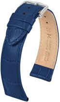 Hirsch Horlogeband -  Louisianalook Donkerblauw - Leer - 20mm