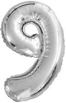 Folieballon nummer 9 zilver (36 cm)