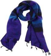 MoreThanHip Pina - brede 'yakwol' sjaal of omslagdoek – paars/blauw gestreept