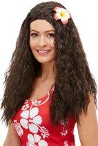 Hawaii Pruik Lang Haar Bruin met Bloem Deluxe