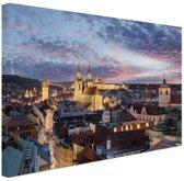 Verlicht Praag Canvas 60x40 cm - Foto print op Canvas schilderij (Wanddecoratie woonkamer / slaapkamer) / Steden Canvas Schilderijen