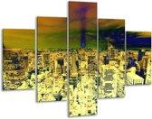 Glasschilderij Steden | Oranje, Blauw, Geel | 100x70cm 5Luik | Foto print op Glas |  F003450