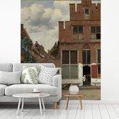 Fotobehang vinyl - Het straatje - Schilderij van Johannes Vermeer breedte 225 cm x hoogte 280 cm - Foto print op behang (in 7 formaten beschikbaar)