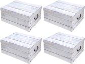 4x Witte opbergdozen/opbergboxen hout print 51 cm - Opruimen - Opbergmanden voor kledingkast