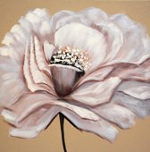 Schilderij bloem chic 80x80 Artello - Handgeschilderd - Woonkamer schilderij - Slaapkamer schilderij - Canvas - Modern