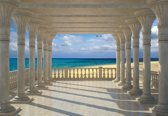 Fotobehang Beach View Through Pillars | XL - 208cm x 146cm | 130g/m2 Vlies