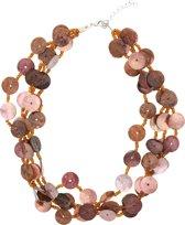 Behave® bruin roze korte schelpen ketting 40 cm