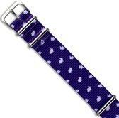 Premium Design Print Bunny - Nato strap 20mm - Horlogeband Konijn Paars Wit