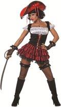 Sexy pirate dame zwart met rood Maat 34
