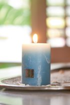 Riviera Maison Rustic Candle med. blue - Kaars - blauw/lichtblauw - 7x10