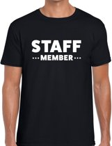 Staff member tekst t-shirt zwart heren - evenementen crew / personeel shirt XL