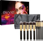 Evvie 10-delige make-up kwasten set met hoes - kabuki kwastenset zwart/goud