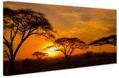 Zonsondergang in de Serengeti Canvas 120x80 cm - Foto print op Canvas schilderij (Wanddecoratie woonkamer / slaapkamer)