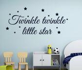 Twinkle little start tekst muursticker zwart