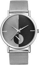 Hidzo Horloge Bowake ø 37 mm - Zilver/Zwart - Inclusief horlogedoosje